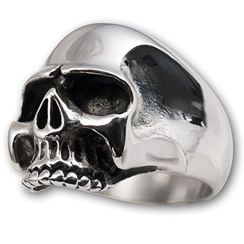 Fly Style Totenkopf Skull Ring Herren aus Edelstahl Keith Richards, Ring Grösse:17.2 mm