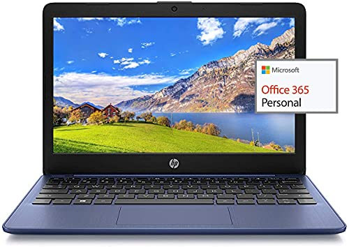 """2021 HP 11.6"""" HD Laptop for Student and Home use, Intel Celeron N4000, 4GB RAM, 96GB Storage(32GB eMMC+64GB SD Card), 1 Year Office 365, WiFi,HDMI,Google Classroom or Zoom Compatible,w/GM Accessories"""