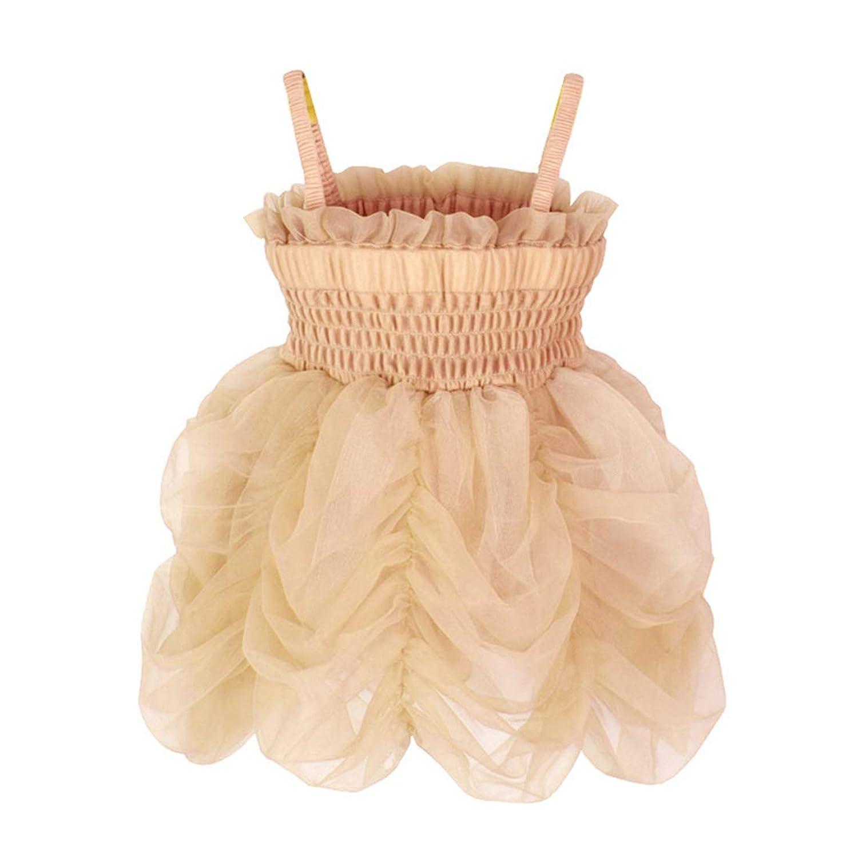 Mornyray 子供ドレス 洋服 フォーマル 女の子 吊りスカート 無袖 チュール レース 夏 春 秋 size XS (シャンパンゴールド)