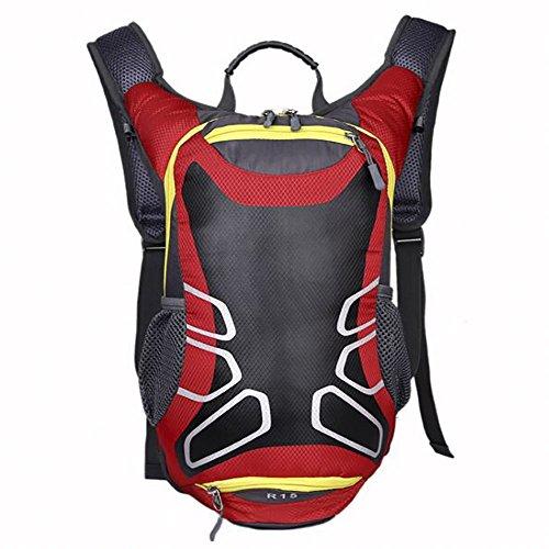 Withu KYD - Zaino da ciclismo con porta casco, 15 l, leggero, dimensione mini, compatto, impermeabile, per escursionismo, sci, trekking, campeggio, alpinismo, Red, S