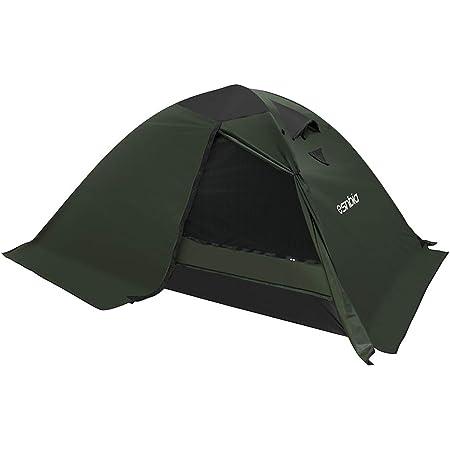 ESNBIA テント 2人用 4シーズンテント 軽量 コンパクト 二重層 スカート付き アウトドアテント キャンプ 登山 ツーリング ドーム 高通気性 メッシュスクリーン 防風防水 日本語説明書 グリーン
