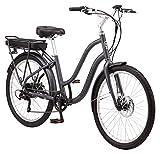 Schwinn Mendocino Adult Hybrid Cruiser eBike, Electric Bicycle, Lightweight Aluminum Frame, 26-Inch Wheels, 6 Speed Drivetrain,Charcoal Grey