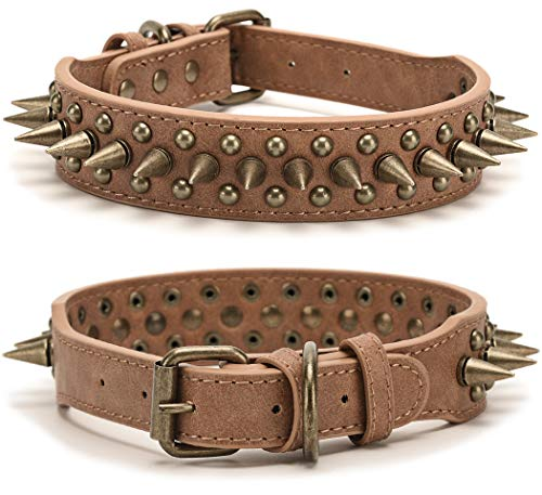 Spiked Studded Dog Collar, Anti-Bite Puppy Poodle Collar, Adjustable Padded Retro Studded Spiked Rivet PU Small Medium Large Dog Pet Leather Collar, XS Brown