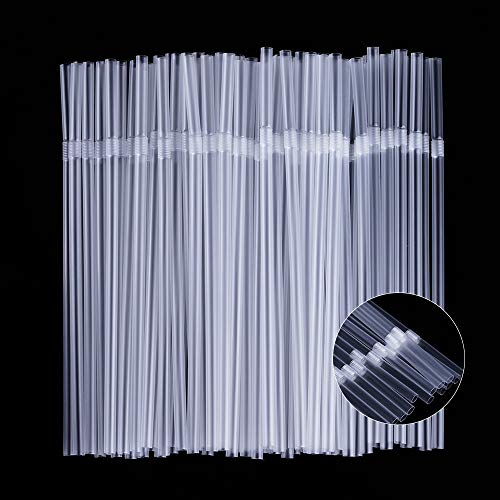 500 Pcs Clear Disposable Plastic Flexible Straws.(0.23'' diameter and 7.7' long)