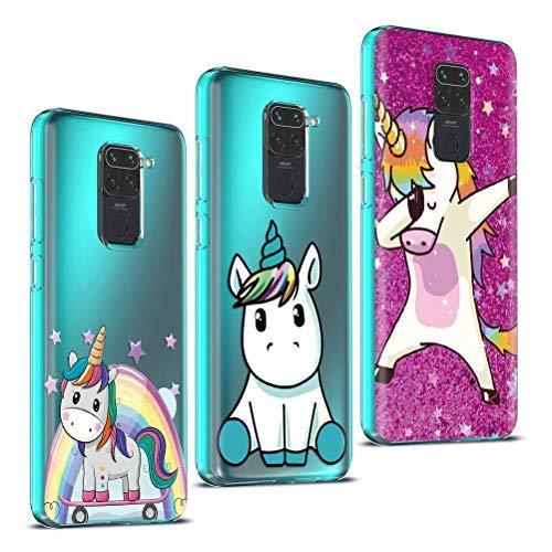 Yoedge Funda para Xiaomi Redmi Note 9 4G [3 Unidades], Silicona Ultra Thin TPU Cubierta Transparente Movil Carcasa Antigolpes Delgado Protector Case, Bonita Diseño, Unicornio