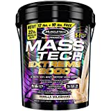 Mass Gainer Protein Powder | MuscleTech Mass-Tech Extreme 2000 | Muscle Builder Whey Protein Powder | Protein + Creatine + Carbs | Max-Protein Weight Gainer for Women & Men | Vanilla, 22 lbs