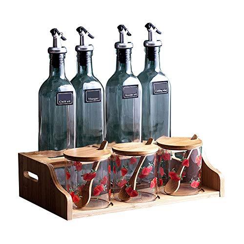 Fgx Scatola da condimento in Vetro Trasparente da Cucina Set 8 Pezzi - 4 vasi di aceto + 3 zuccheriere con Coperchio in Legno 3 cucchiai di Legno - 2 Strati di scaffali di Legno