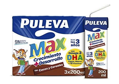Puleva Max Bebida Láctea Cacao y Cereales - Pack de 3 x 200 ml - Total: 600 ml