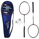 Badminton Set 2 jugadores con 2 raquetas y volantes adecuados para interiores y exteriores diversión deportiva familiar (viene con funda de transporte).