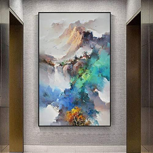 KWzEQ Moderne abstrakte Ölgemäldeplakate und Wandgemälde der Berglandschaft auf Leinwand schmücken das Wohnzimmer,Rahmenlose Malerei,60x90cm