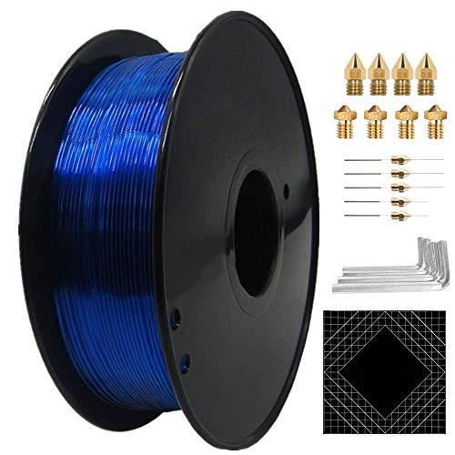 ChamRun 1,75 mm, filamento PETG, bobina da 1 kg, materiale per stampante 3D, fornito con accessori 3D, precisione dimensionale +/- 0,03 mm, adatta alla maggior parte delle stampanti 3D FDM (blu)