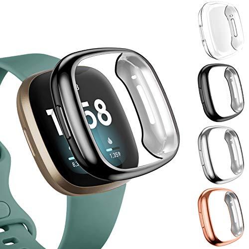 Upeak 4 Pezzi Custodia Cover Compatibile per Fitbit Versa 3/Versa Sense, Custodia a Copertura Totale in TPU per Fitbit Versa 3/Versa Sense, Chiaro/Nero/Argento/Oro Rosa