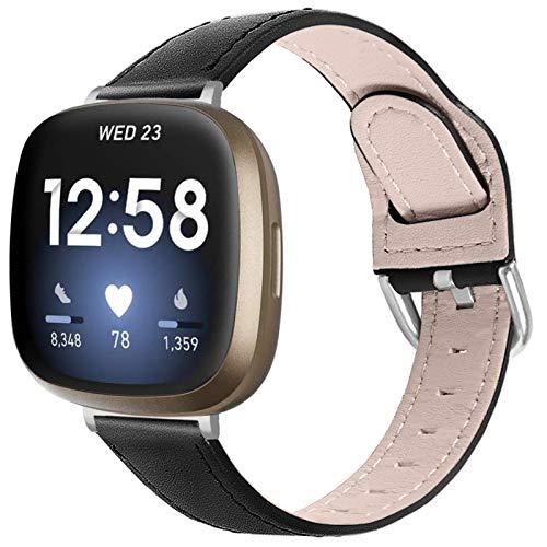 Armband für Fitbit Versa 3, Miya Slim Echtleder Armband Armband mit Metallschnalle Kompatibel für Fitbit Versa 3 / Fitbit Sense für Frauen Männer (Schwarz)