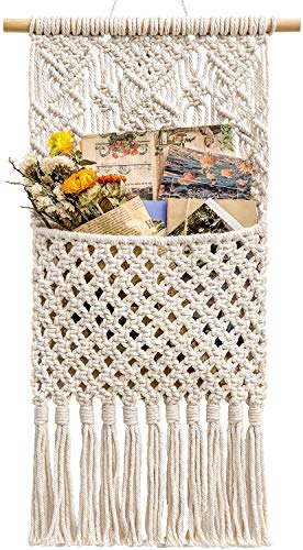 """Roll over image to zoom in DFVEY Macrame Wall Holder Magazine Storage Organizer Mail Holder Wall Mount Cotton Wovening Hanging Pocket Boho Home Decor Ivory, 13"""" W × 29"""" L"""