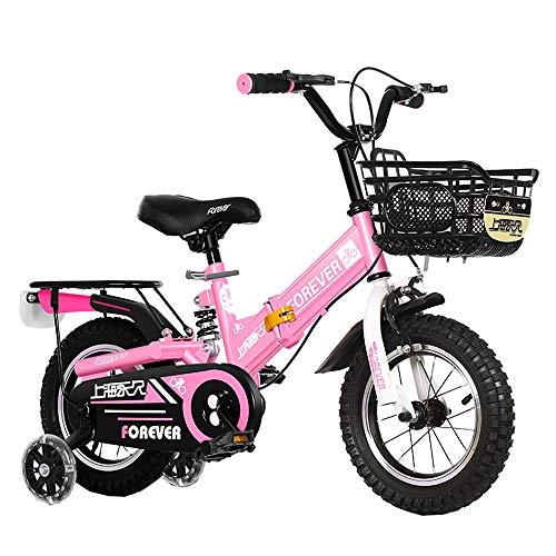 Axdwfd Infantiles Bicicletas Bicicletas Freestyle Niños Y Niñas For Niños De 3 Colores, 12 Pulgadas, 14 Pulgadas, con Estabilizadores, Asientos Traseros Y Soportes (Color : Pink, Size : 12in)