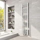 Meykoers Badheizkörper 1600x400mm Mittelanschluss Weiß 789 Watt, Handtuchtrockner Handtuchwärmer Design Heizkörper für Bad Heizung Radiator