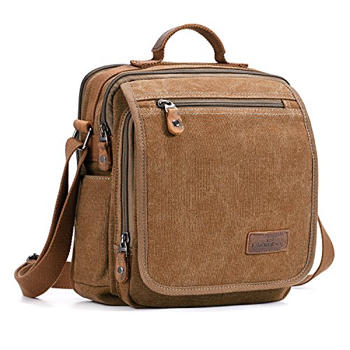 Plambag Canvas Messenger Bag Tablet Bag Fit 10' iPad Small Travel School Crossbody Bag for Men Coffee