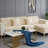 IUYJVR Housse de canapé en Peluche d'hiver 3 Places, Coussin de canapé épais antidérapant, housse de canapé pour Chien Housses de canapé sectionnelles, Serviette de canapé Multi-Taille-Beige 70x150