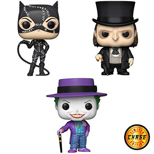 Funko Heroes: POP! Batman Collectors Set 2 - Batman Returns Catwoman, Batman Returns Penguin, 1989 Joker with hat - 3 Figures Total (Chase Limited Joker Version Possible)