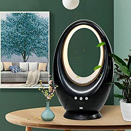 Black DINEGG Bladeless Fan Sleep Timer Remote Control Oscillating Fan Alternate Between 16 Colors Decorative LED Light Table Natural Wind Baby Bladeless Fan