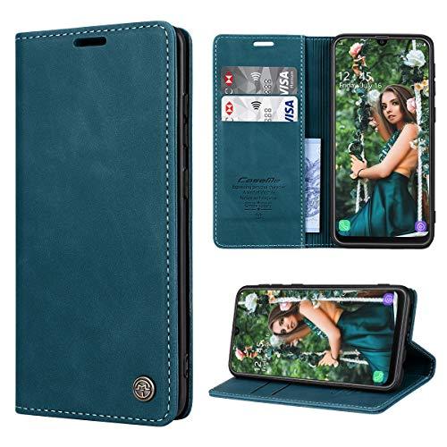 RuiPower Handyhülle für Samsung Galaxy M30s Hülle, Samsung Galaxy M21 Hülle Premium Leder PU Flip Magnet Wallet Klapphülle Silikon Bumper Schutzhülle für Samsung Galaxy M30S/ M21 Tasche - Blaugrün