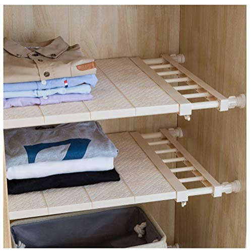 Hershii Closet Tension Shelf & Rod Expandable Metal Storage Rack Adjustable Organizer DIY Divider Separator for Cabinet Wardrobe Cupboard Kitchen Bathroom,15.74-23.62inches