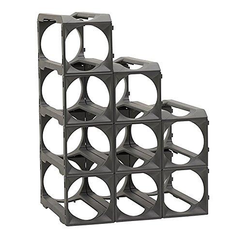 Stakrax - Stackable, Modular Wine Rack - 12 Bottle Set - Silver