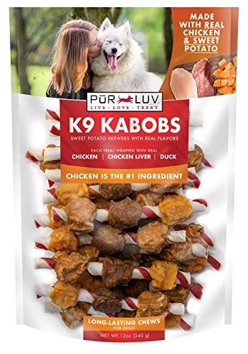 Pur Luv K9 Kabob Real Chicken, Duck, and Sweet Potato Dog Treats, Brown (84727)