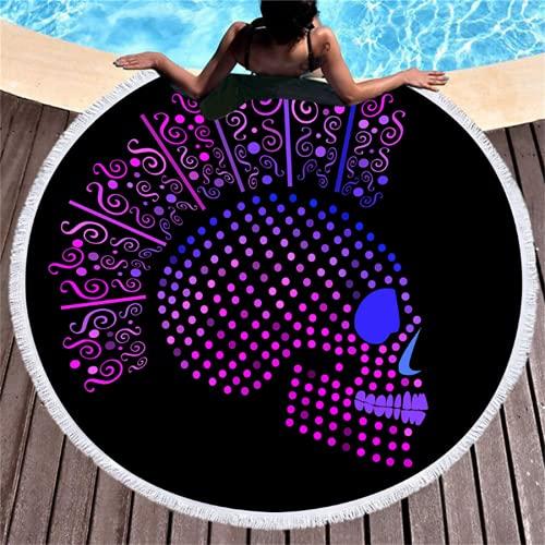 Toallas De Playa Redondas con Estampado Floral De La Serie De Impresión Digital, Esteras De Playa De Microfibra Absorbente De Secado Rápido, Toallas De Baño Suaves 150 * 150cm