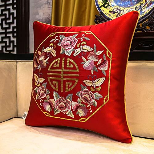 PeiQiH Moderno Almohada de Respaldo,Chino Bordado Almohada de Tiro,Tatami Proteger la Cintura atrás Colocación Soporte para Sofá Dormitorio Coche-E 45x45cm(18x18inch)