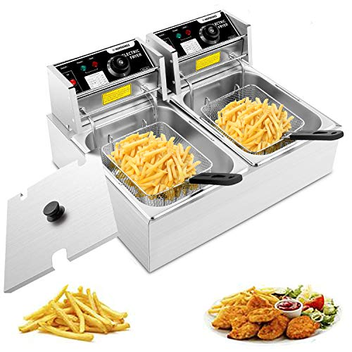 ROOJER Deep Fryer with Basket & Lid, 12.7-Quart Stainless Steel Electric Deep Fryer with Temperature Control for Turkey, French Fries, Donuts, Easy to Clean