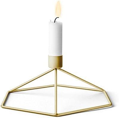 Surenhap キャンドルホルダー 3D 幾何学 燭台 蝋燭 ロウソク立て メタル ワイヤーフレーム 美しい 北欧 インテリア おしゃれ 雰囲気作り 記念日 結婚式 パーティー ホームデコレーション 装飾 (ゴールド)