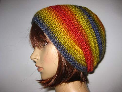 Mütze mit schönem Farbverlauf, Beanie, Häkelmütze