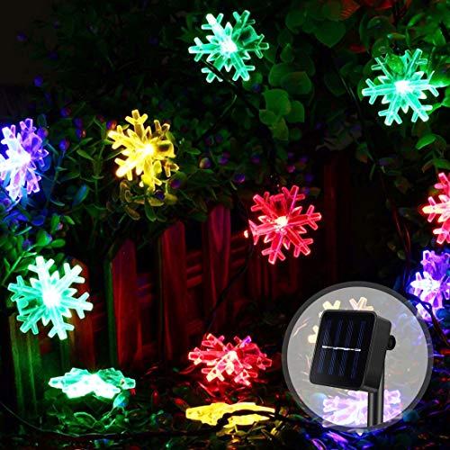 Sooair Copo de nieve LED, cadena de luces LED, luces de Navidad, copo de nieve, cadena de luces solar para exterior, resistente al agua (multicolor)