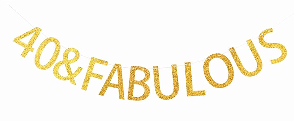 40 & Fabulous Gold Banner 40th Birthday Party Decorations Sign