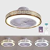 Ventilador de techo con lámpara, 3 Velocidades, regulables con Control remoto inteligente LED Lámpara de Techo 72W Creativo Ventilador Lámpara Invisible Puede ser cronometrado Color opcional-dorado