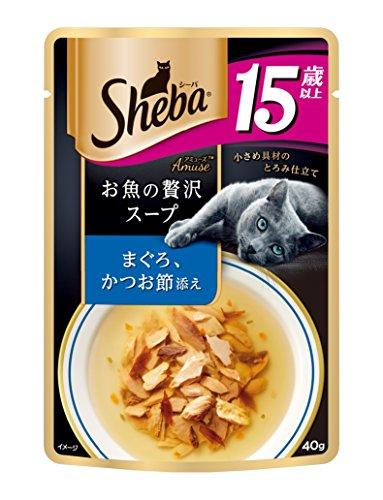 シーバ (Sheba) キャットフード アミューズ お魚の贅沢スープ 15歳以上 まぐろ、かつお節添え 高齢猫用 40g×12個 (まとめ買い)