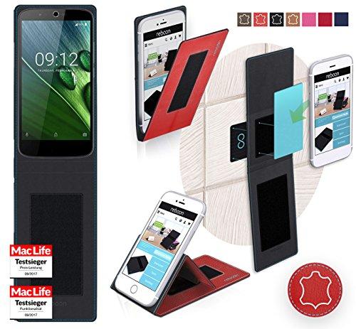 reboon Hülle für Acer Liquid Zest Plus Tasche Cover Case Bumper | Rot Leder | Testsieger