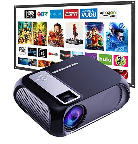 Mini Beamer WiFi 6500 Lumen,Native 720P Beamer Full HD, WiFi Beamer Heimkino Projektor, Support 1080P Full HD, kompatibel mit TV Stick,AV, VGA, USB, PS4, X-Box, iOS/Android