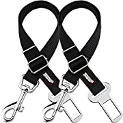 Friends Forever 2-Pack, Adjustable Black Nylon Dog Cat Car Seat-Belt, Vehicle Tether, Restraint Lead for Pets