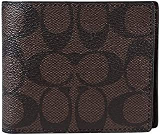 Coach F74993 MA/BR Signature PVC and Leather Compact ID Wallet for Men in Mahogany/Brown