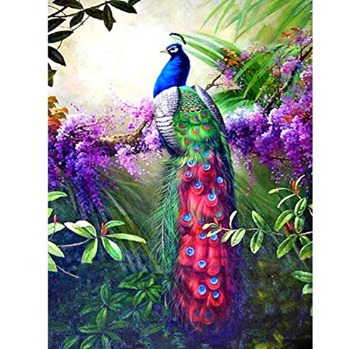 Diamond Art Kits, Full 5D DIY Diamond Painting Cross-Stitch Forest Pea-Cock 3D Diamond Painting Full Rhinestones Paintings Embroidery Gifts 40x50cm
