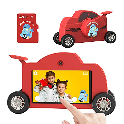 Dragon Touch Kids Camera, 1080P Touch Screen 48MP 3'' IPS HD Digital Selfie Camera, Portable Toy Camera for 3-12 Years, 32GB Memory Card, Share Photos and Videos via Built-in WiFi & App (WT01)