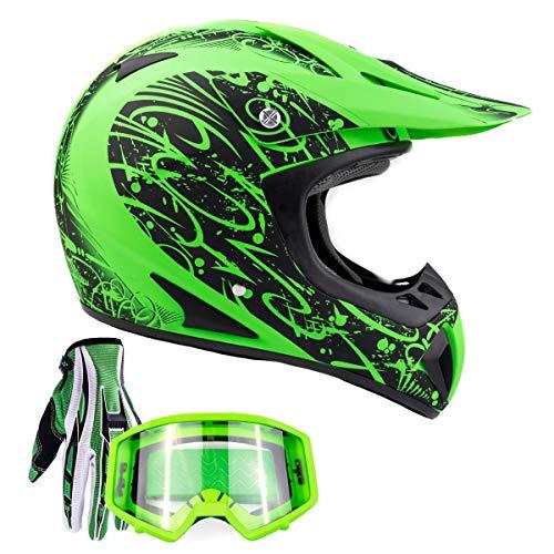 Typhoon Adult ATV MX Helmet Goggles Gloves Gear Combo Matte Green w/Green (Medium)