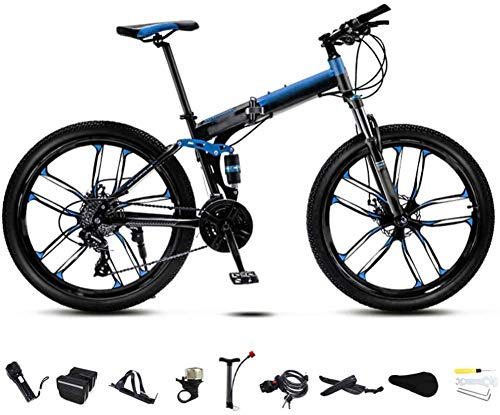 26 Inch MTB Bicycle Unisex Folding Commuter Bike 30-Speed Gears Foldable Mountain Bike Off-Road Variable Speed Bikes for Men And Women Double Disc Brake/blue-blue_30 speed