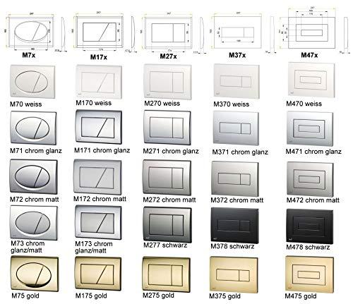 Aqualuxbad Betätigungselement für A101 von ALCA Spülplatte, WC Bedienplatte:M272 Chrom matt
