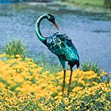 CHISHEEN Crane Garden Statue, Metal Heron Decor with Solar Lights, Yard Art with LED Lights for Outdoor Decorations, Blue Crane Sculpture for Backyard Farm Patio Yard Lawn Decorations