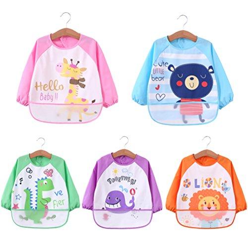 ElecMotive Pack de 5 Impermeable Baberos del Bebé PEVA de Manga Larga Para Bebé Niños Niñas 1~4 años