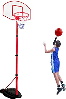 Fajiabao Portable Basketball Hoop Adjustable Height 5Ft to 7.8Ft Basketball System for Kids and Teens Backboard Basketball Goal Court with Rim and Net Ball Pump Indoor Outdoor Games