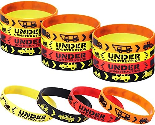 24 Pieces Construction Zone Party Favors Rubber Bracelets for Kids Construction Birthday Party product image